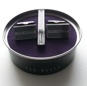 Ted Baker ROOSET Cuff Link & Tie Bar Set Chocolate